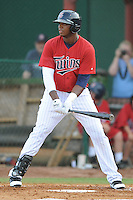 Elizabethton Twins first baseman Kennys Vargas #25 at bat during  a game against the Bluefield Blue Jays at Joe O'Brien Field on June 21, 2011 in Elizabethton, Tennessee.  The game was delayed with the score 5-5.  (Tony Farlow/Four Seam Images)