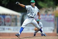 Lexington Legends starting pitcher Crawford Simmons #22 delivers a pitch during a game against the Asheville Tourists at McCormick Field on June 16, 2013 in Asheville, North Carolina. The Tourists won the game 8-7. (Tony Farlow/Four Seam Images)