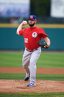 Buffalo Bisons pitcher Todd Redmond (52) delivers a pitch during a game against the Rochester Red Wings on July 8, 2015 at Frontier Field in Rochester, New York.  Rochester defeated Buffalo 6-5.  (Mike Janes/Four Seam Images)