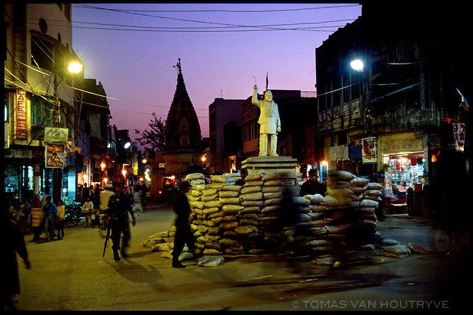 Royal Nepal Army Troops, police and sand bags protect a statue of the King in Nepalgunj, Nepal on 7 February, 2004 ahead of a civic visit by His Majesty King Gyanendra Shah.