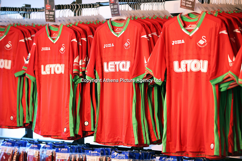 Pictured: Away shirts. Saturday 01 July 2017<br /> Re: The new 2017-2018 season, Swansea City FC kit has officially gone on sale at the club's Liberty Stadium shop, Wales, UK
