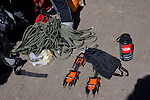 Climbing ropes, crampons and a water bottle
