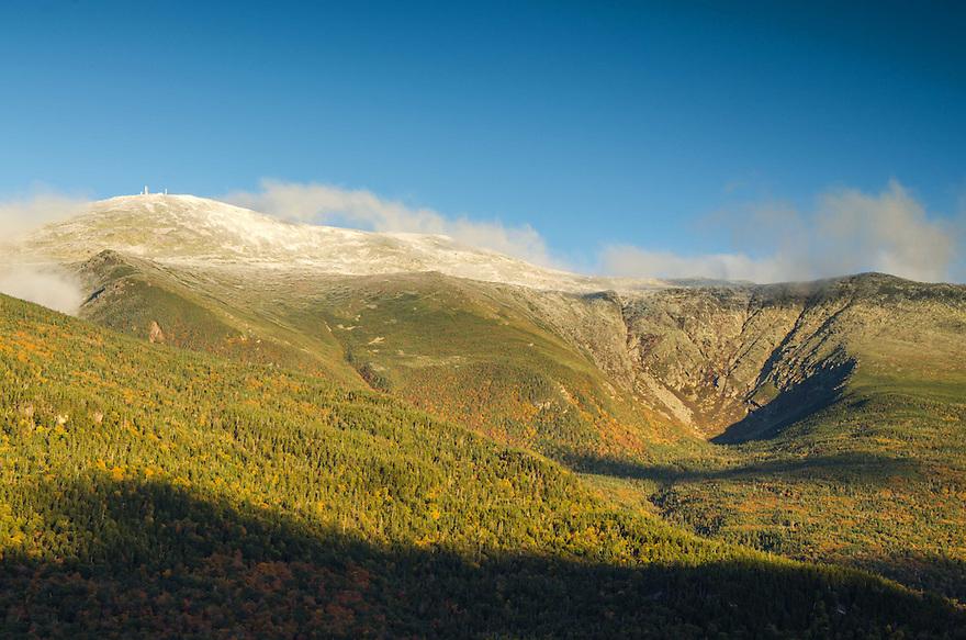 Mount Washington over Huntington Ravine in autumn.