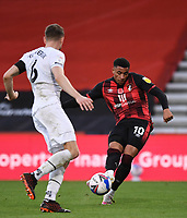 31st October 2020; Vitality Stadium, Bournemouth, Dorset, England; English Football League Championship Football, Bournemouth Athletic versus Derby County; Arnaut Danjuma of Bournemouth shoots under pressure from Mike te Wierik of Derby County with the shot rebounding off the post
