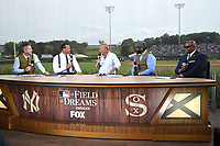 DYERSVILLE, IOWA - AUGUST 12: (L-R) Kevin Burkhardt, Alex Rodriguez, guest Kevin Costner, David Ortiz, and Frank Thomas on the Fox MLB Pregame show at the MLB Field of Dreams game on August 12, 2021 in Dyersville, Iowa. (Photo by Frank Micelotta/Fox Sports/PictureGroup)