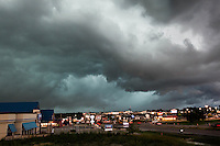 Severe thunderstorm hovering over city of St. Joseph, MO