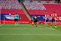 Callum Morton (on loan from WBA) of Northampton Town scores his team's second goal during the Sky Bet League 2 PLAY-OFF Final match between Exeter City and Northampton Town at Wembley Stadium, London, England on 29 June 2020. Photo by Andy Rowland.