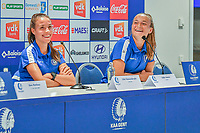 20200824 , GENT , BELGIUM : Gent's defender Silke Vanwynsberghe (21) and Gent's forward Lobke Loonen (19) pictured during a players presentation of K.A.A. Gent ladies before the 2020 - 2021 season of Belgian Women's SuperLeague , Monday 24 th of August 2020 in Gent , Belgium . PHOTO SPORTPIX.BE | STIJN AUDOOREN