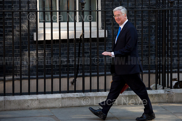 Michael Fallon MP (Secretary of State for Defence).<br /> <br /> London, 19/07/2016. First Cabinet meeting at 10 Downing Street (after the EU Referendum and consequent David Cameron's resignation) for the new Prime Minister Theresa May and her newly formed Conservative Government.<br /> <br /> For more information about the Cabinet Ministers: https://www.gov.uk/government/ministers