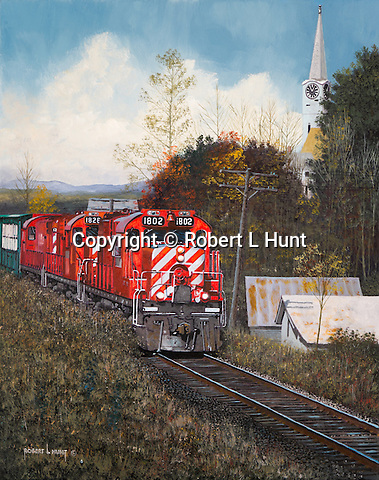 """Canadian Pacific Railroad GP units pulling a freight train through a small Vermont village and fall foliage, oil on canvas, 20"""" x 16""""."""