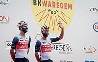 Jasper Stuyven (BEL/Trek-Segafredo) & Edward Theuns (BEL/Trek-Segafredo) at the team presentation at the race start in the Waregem Hippodrome <br /> <br /> Belgian National Championships 2021 - Road Race<br /> <br /> One day race from Waregem to Waregem (221km)<br /> <br /> ©kramon