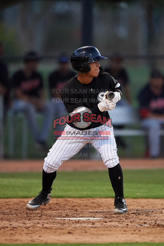 AZL White Sox Jose Rodriguez (5) squares to bunt during an Arizona League game against the AZL Indians Blue on July 2, 2019 at Camelback Ranch in Glendale, Arizona. The AZL Indians Blue defeated the AZL White Sox 10-8. (Zachary Lucy/Four Seam Images)