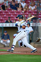Cedar Rapids Kernels Alex Isola (9) bats during a game against the Wisconsin Timber Rattlers on August 17, 2021 at Perfect Game Field in Cedar Rapids, Iowa.  (Mike Janes/Four Seam Images)