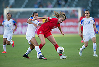 CARSON, CA - FEBRUARY 07: Jordyn Huitema #9 of Canada attempts to move with ball past Stephannie Blanco #15 of Costa Rica during a game between Canada and Costa Rica at Dignity Health Sports Park on February 07, 2020 in Carson, California.