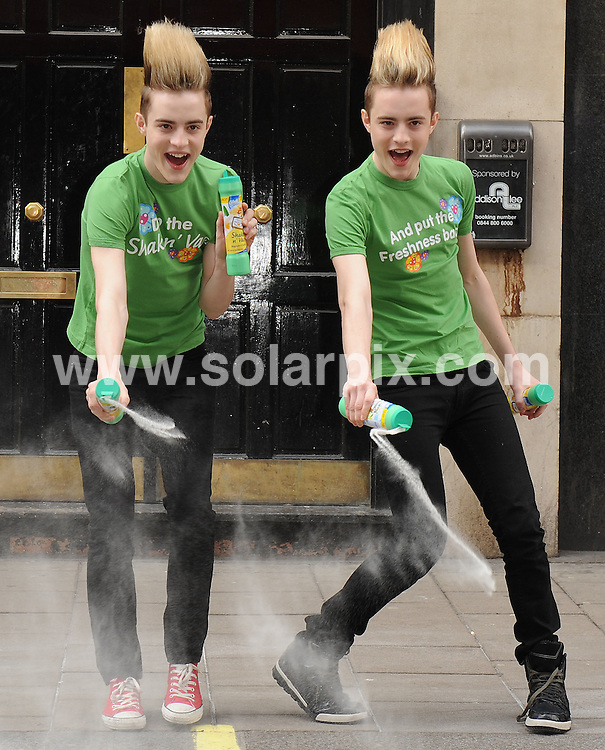 **ALL ROUND PICTURES FROM SOLARPIX.COM**.**WORLDWIDE SYNDICATION RIGHTS**.Jedward aim to - Bring The Freshness Back - as they arrive at the Dean Street Studios, London to celebrate the 30th Anniversary of the iconic Glade Shake n' Vac advert. London, UK. 4 May 2010...This pic: John Grimes and Edward Grimes aka Jedward..JOB REF: 11199 SSD     DATE: 04_05_2010.**MUST CREDIT SOLARPIX.COM OR DOUBLE FEE WILL BE CHARGED**.**MUST NOTIFY SOLARPIX OF ONLINE USAGE**.**CALL US ON: +34 952 811 768 or LOW RATE FROM UK 0844 617 7637**