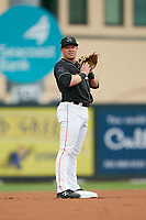 Jupiter Hammerheads second baseman Gunnar Schubert (12) during a Florida State League game against the Lakeland Flying Tigers on August 12, 2019 at Roger Dean Chevrolet Stadium in Jupiter, Florida.  Jupiter defeated Lakeland 9-3.  (Mike Janes/Four Seam Images)