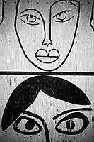 Switzerland. Canton Ticino. Lugano. Liceo di Lugano . A set of portraits are drawn on walls of temporary classes' buildings of the public high school.. 27.04.2020 © 2020 Didier Ruef