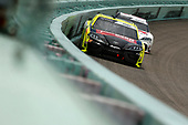 HOMESTEAD, FLORIDA - JUNE 14: Brandon Jones, driver of the #19 Menards/Fisher Toyota, leads Harrison Burton, driver of the #20 DEX Imaging Toyota, during the NASCAR Xfinity Series Contender Boats 250 at Homestead-Miami Speedway on June 14, 2020 in Homestead, Florida. (Photo by Michael Reaves/Getty Images)