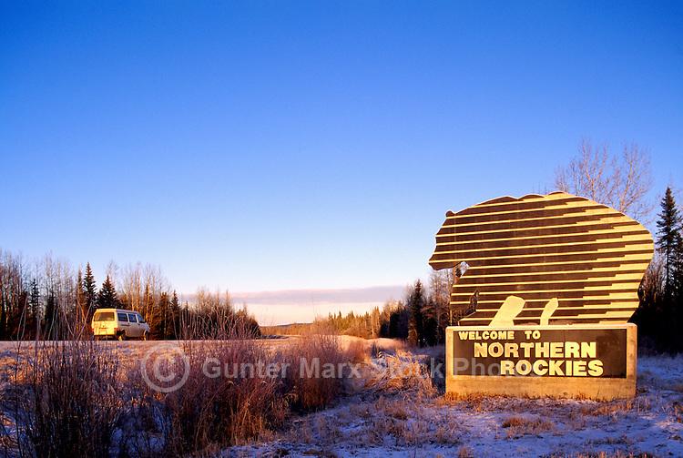 Alaska Highway, Northern Rockies, BC, British Columbia, Canada - Welcome to Northern Rockies Road Sign, Winter