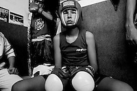 Valera Ivanov is seen just before a boxing match at the Jerusalem Boxing Club.  Located in a bomb shelter, the club has 150 members in which the big majority is Jewish, with a minority of Arabs from East Jerusalem (15 members). 09/11/2007