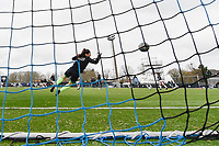 Goalkeeper Louise Van Den Bergh (1) of OHL pictured during the warming up of a female soccer game between Club Brugge Dames YLA and Oud Heverlee Leuven on the first matchday in Play-Off 1 of the 2020 - 2021 season of Belgian Scooore Womens Super League , saturday 3 th April 2021  in Brugge , Belgium . PHOTO SPORTPIX.BE | SPP | DIRK VUYLSTEKE