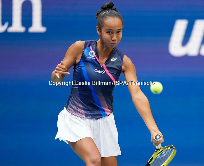 September  11, 2021:   Leylah Fernandez (CAN) loses to Emma Raducanu (GBR), 6-4, 6-3 at the US Open being played at Billie Jean King National Tennis Center in Flushing, Queens, New York, {USA} ©Jo Becktold/Tennisclix/CSM