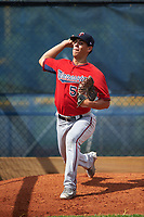 GCL Twins relief pitcher Derek Molina (53) warms up in the bullpen before the first game of a doubleheader against the GCL Rays on July 18, 2017 at Charlotte Sports Park in Port Charlotte, Florida.  GCL Twins defeated the GCL Rays 11-5 in a continuation of a game that was suspended on July 17th at CenturyLink Sports Complex in Fort Myers, Florida due to inclement weather.  (Mike Janes/Four Seam Images)