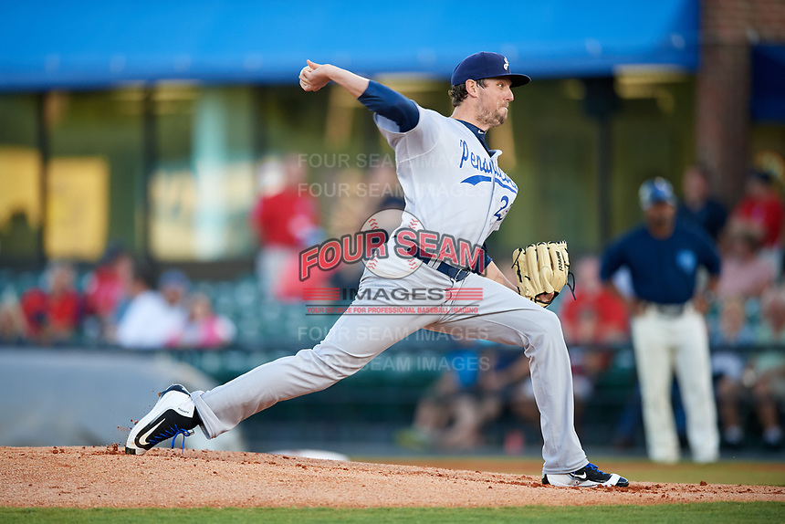 Pensacola Blue Wahoos starting pitcher Deck McGuire (25) delivers a pitch during a game against the Mobile BayBears on April 25, 2017 at Hank Aaron Stadium in Mobile, Alabama.  Mobile defeated Pensacola 3-0.  (Mike Janes/Four Seam Images)