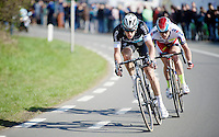 the decisive break with Niki Terpstra (NLD/Etixx-QuickStep) & Alexander Kristoff (NOR/Katusha) escaping from the lead group up the Hotond berg<br /> <br /> 99th Ronde van Vlaanderen 2015