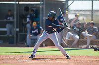 Milwaukee Brewers right fielder Larry Ernesto (24) at bat during an Instructional League game against the San Diego Padres at Peoria Sports Complex on September 21, 2018 in Peoria, Arizona. (Zachary Lucy/Four Seam Images)