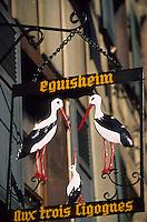 "Europe/France/Alsace/68/Haut-Rhin/Eguisheim : Enseigne restaurant ""Aux trois cigognes"""