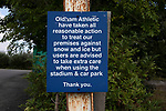 Oldham Athletic 0 Hartlepool United 0, 18/09/2021. Boundary Park, League 2. A weather warning sign outside the ground, pictured before Oldham Athletic play Hartlepool United in a League 2 fixture at Boundary Park. Before the game, more than home 500 fans protested against owner Abdallah Lemsagam's running of the club, including some who carried a mock coffin outside the ground. The match ended 0-0, watched by 3934 spectators. Photo by Colin McPherson.