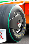 03 Apr 2009, Kuala Lumpur, Malaysia ---   Detail of a tyre of the Force India F1 Team car's Giancarlo Fisichella during the 2009 Fia Formula One Malasyan Grand Prix at the Sepang circuit near Kuala Lumpur. Photo by Victor Fraile --- Image by © Victor Fraile / The Power of Sport Images