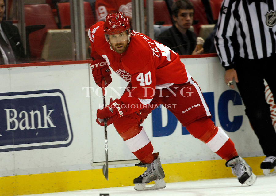 12 October 2010: Detroit Red Wings forward Henrik Zetterberg (40) skates with the puck in the second period of the Colorado Avalanche at Detroit Red Wings NHL hockey game, at Joe Louis Arena, in Detroit, MI...***** Editorial Use Only *****