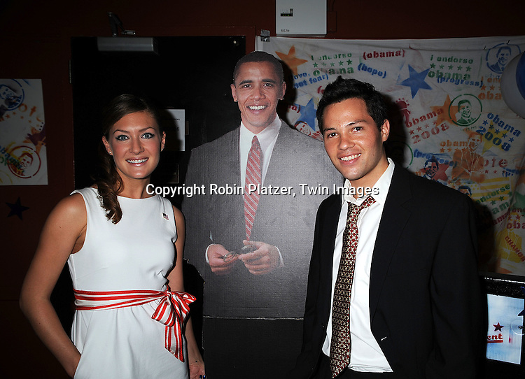 """One Life to Live's BethAnn Bonner, cutout of Barack Obama and One Life to Live's Jason Tam ..at The """"Spare Some Change:NYC Artists for Barack Obama""""  fundraiser on August 11, 2008 at The Fifth Floor Theatre at New York University. ....Robin Platzer, Twin Images"""