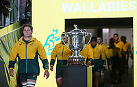 Wallabies captain Michael Hooper walks out for the Bledisloe Cup rugby match between the New Zealand All Blacks and Australia Wallabies at Eden Park in Auckland, New Zealand on Saturday, 14 August 2021. Photo: Simon Watts / lintottphoto.co.nz / bwmedia.co.nz