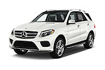 2017 Mercedes Benz GLE-Class GLE550e-4MATIC® 5 Door SUV Angular Front stock photos of front three quarter view