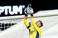 FOXBOROUGH, MA - AUGUST 26: Joe Rice #51 of New England Revolution II concentrates on keeping a clean sheet during a game between Greenville Triumph SC and New England Revolution II at Gillette Stadium on August 26, 2020 in Foxborough, Massachusetts.