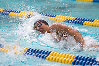 BERKELEY, CA - Feb. 18, 2017: Cal's Long Gutierrez swims in the Men 500 Yard Freestyle.  Cal Men's Swimming and Diving competed against Stanford at Spieker Aquatics Complex.