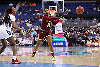 GREENSBORO, NC - MARCH 07: Marnelle Garraud #14 of Boston College passes the ball during a game between Boston College and NC State at Greensboro Coliseum on March 07, 2020 in Greensboro, North Carolina.