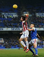 Stoke City's Joe Allen battles with  Ipswich Town's Jonas Knudsen<br /> <br /> Photographer Hannah Fountain/CameraSport<br /> <br /> The EFL Sky Bet Championship - Ipswich Town v Stoke City - Saturday 16th February 2019 - Portman Road - Ipswich<br /> <br /> World Copyright © 2019 CameraSport. All rights reserved. 43 Linden Ave. Countesthorpe. Leicester. England. LE8 5PG - Tel: +44 (0) 116 277 4147 - admin@camerasport.com - www.camerasport.com