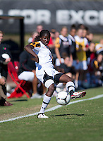 Shade Pratt (22) of Maryland takes a touch on the ball during the game at Ludwing Field in College Park, MD.  Florida State defeated Maryland, 1-0.