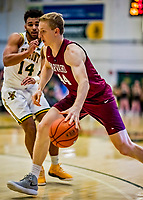 8 December 2018: Harvard University Crimson Forward Henry Welsh, a Junior from Redondo Beach, CA, in action against the University of Vermont Catamounts in Men's Basketball at Patrick Gymnasium in Burlington, Vermont. The America East Catamounts overcame a 10-point 2nd half deficit, to defeat the Ivy League Crimson 71-65 in NCAA Division I inter-league play. Mandatory Credit: Ed Wolfstein Photo *** RAW (NEF) Image File Available ***