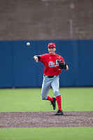 Ohio State Buckeyes shortstop Zach Dezenzo (4) makes a throw to first base during NCAA baseball action against the Michigan Wolverines on April 10, 2021 at Ray Fisher Stadium in Ann Arbor, Michigan. The Wolverines defeated the Buckeyes 7-0. (Andrew Woolley/Four Seam Images)