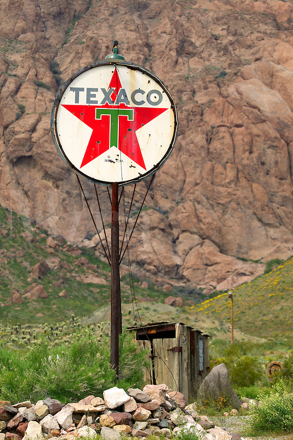 A Texaco sign at an old restored gold mine, near Lake Mohave, Nelson, Nevada