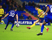 28th September 2021; Cardiff City Stadium, Cardiff, Wales;  EFL Championship football, Cardiff versus West Bromwich Albion; Jordan Hugill of West Bromwich Albion shoots the ball but is blocked