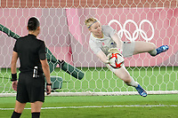 YOKOHAMA, JAPAN - AUGUST 6: Hedvig Lindahl #1 of Sweden makes a save during PK shootout during a game between Canada and Sweden at International Stadium Yokohama on August 6, 2021 in Yokohama, Japan.