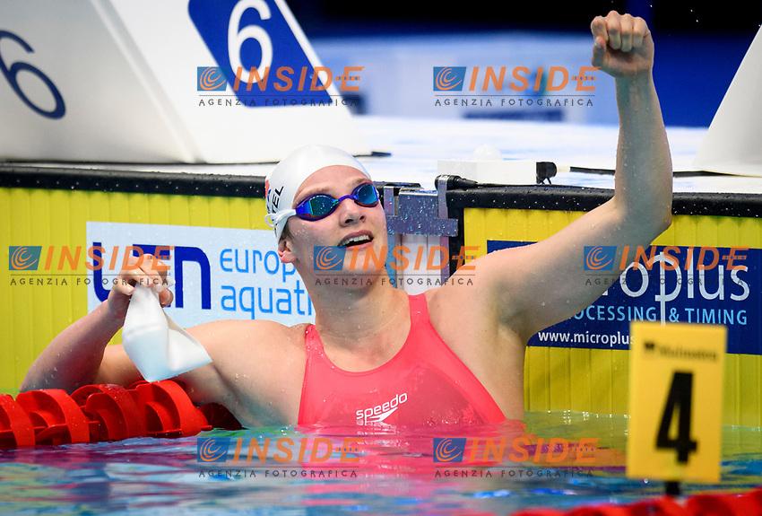 100m Butterfly Women<br /> Final<br /> WATTEL Marie FRA France Celebrate<br /> Swimming<br /> Budapest  - Hungary  18/5/2021<br /> Duna Arena<br /> XXXV LEN European Aquatic Championships<br /> Photo Giorgio Scala / Deepbluemedia / Insidefoto
