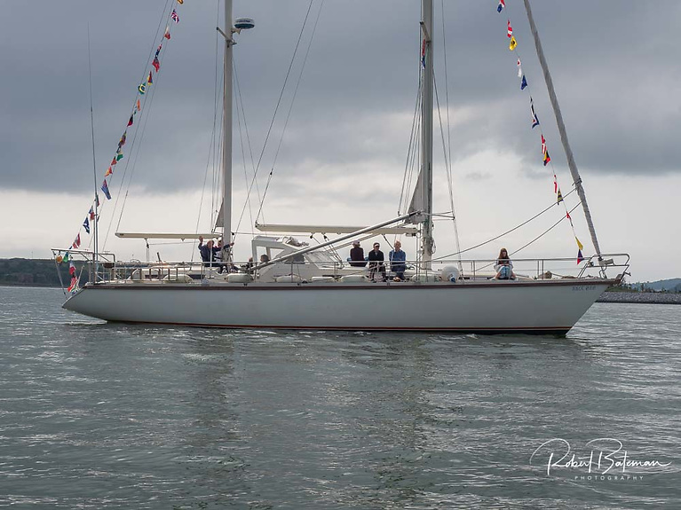 At the end of parade was another round the world yacht Saol Eile with former RCYC Admiral Ted Crosbie at the helm.