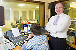 Liam O Shea, managing director of Clare FM in the studio with Mark Lavin. Photograph by John Kelly.